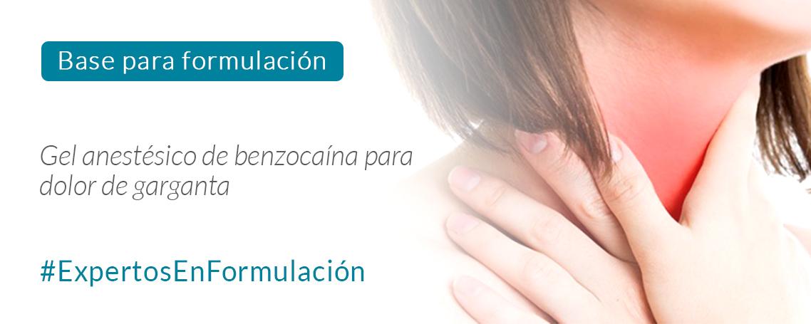 Gel anestésico de benzocaína para faringitis