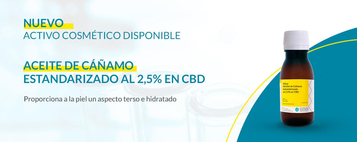 Aceite de Cáñamo estandarizado al 2,5% en CBD, nuevo activo cosmético disponible en Laboratorios Guinama