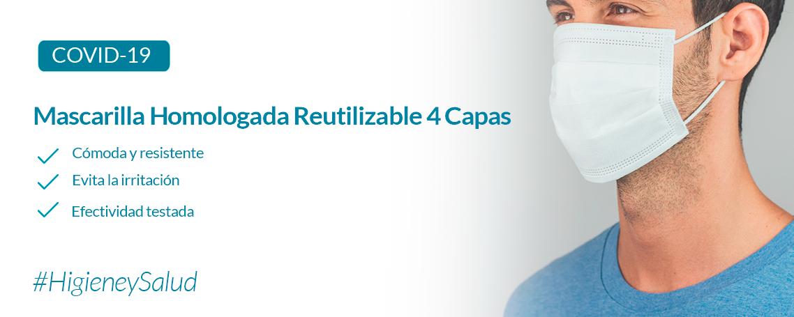 Mascarilla higiénica reutilizable - 4 capas de tejido