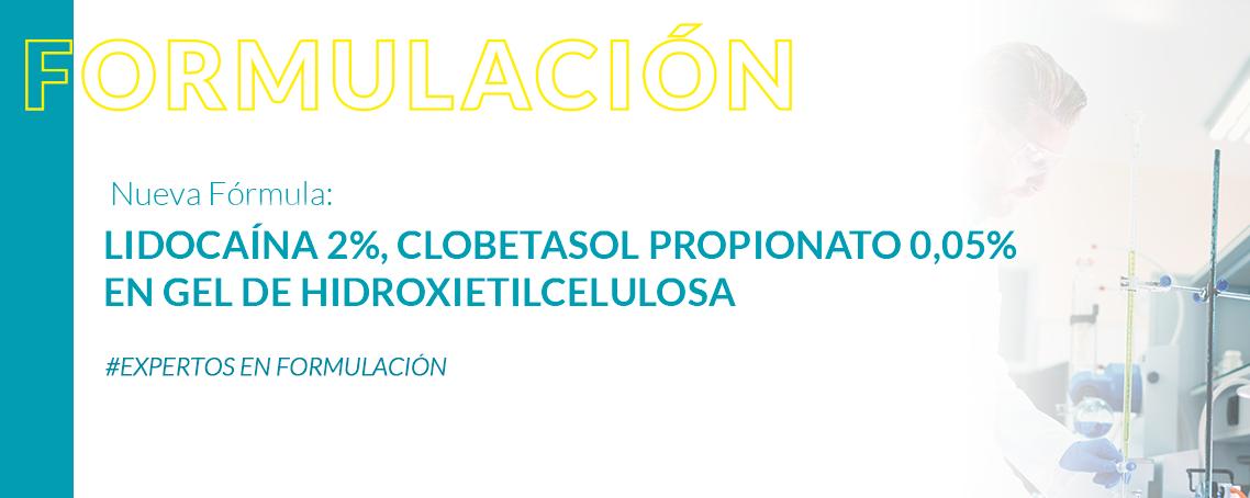 Formulación: Lidocaína 2%, clobetasol propionato 0,05% en gel de Hidroxietilcelulosa